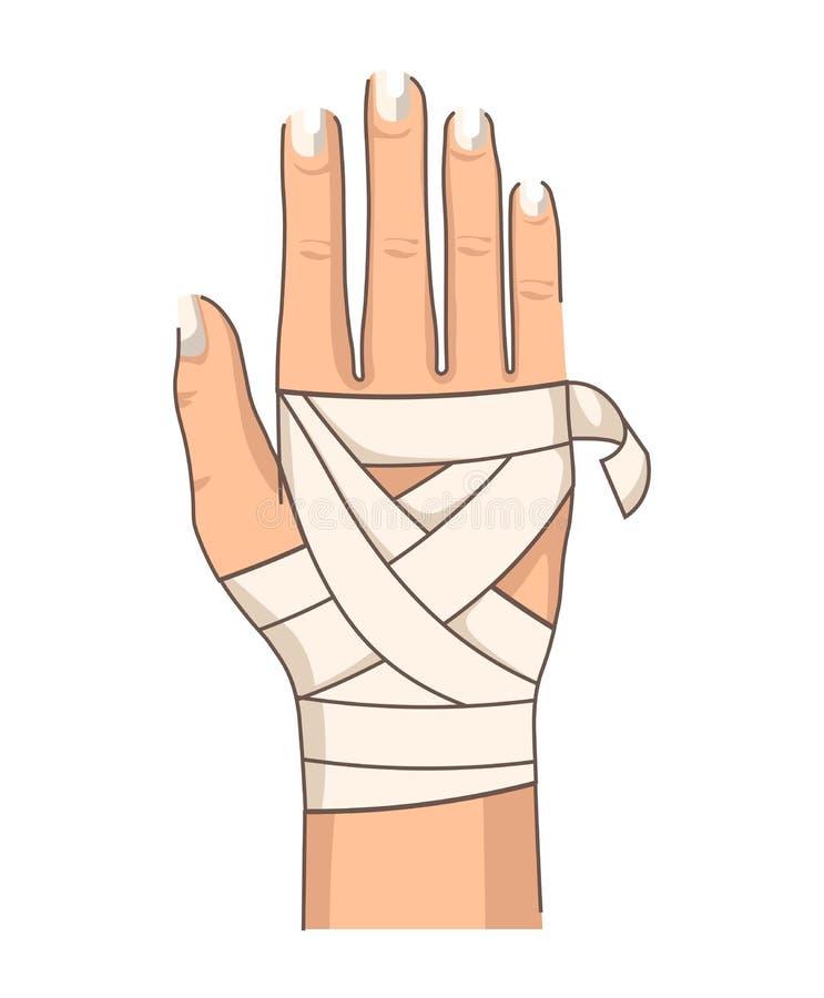 Χέρι επιδέσμων που επιδένει τις πρώτες βοήθειες τραυματισμών καρπών απεικόνιση αποθεμάτων