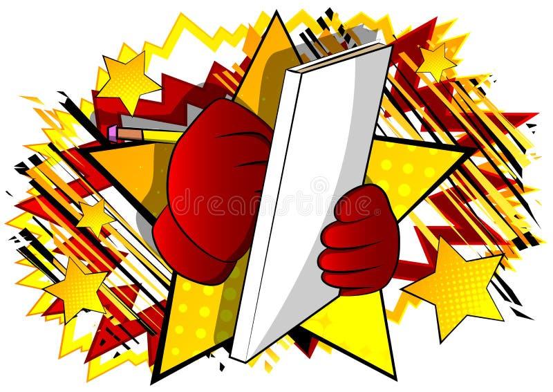 Χέρι κινούμενων σχεδίων που γράφει με το μολύβι σε μια κάλυψη βιβλίων ελεύθερη απεικόνιση δικαιώματος