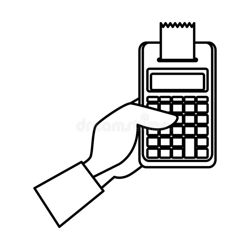 Χέρι με τον υπολογιστή math απεικόνιση αποθεμάτων
