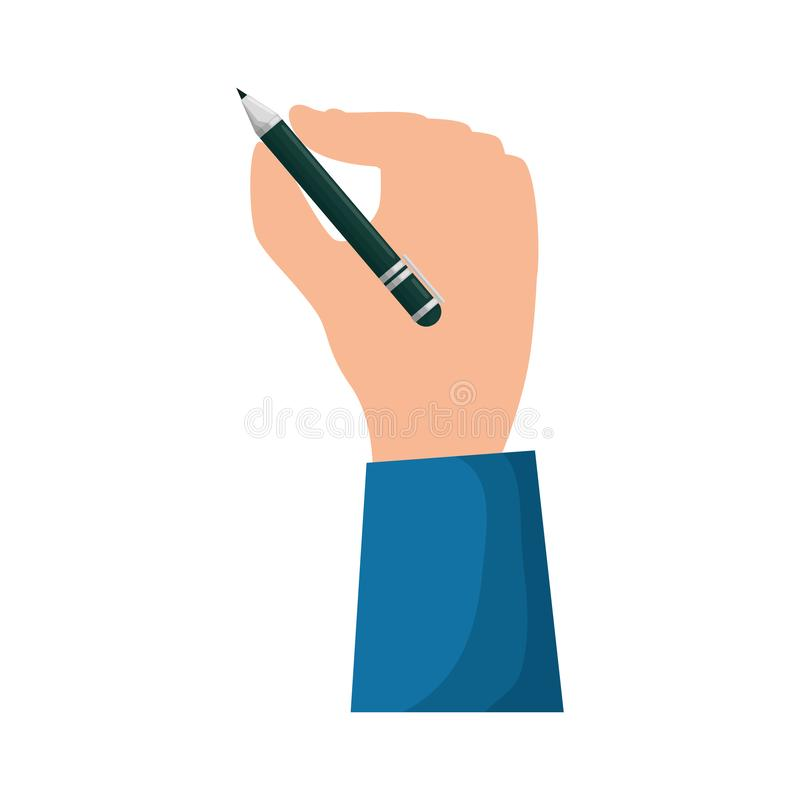 Χέρι που γράφει με το συγγραφέα στυλό διανυσματική απεικόνιση