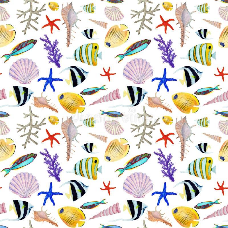 Χέρι που σύρεται στο παγκόσμιο φυσικό στοιχείο θάλασσας watercolor Seemless σχέδιο ψαριών κοραλλιογενών υφάλων στο άσπρο υπόβαθρο απεικόνιση αποθεμάτων