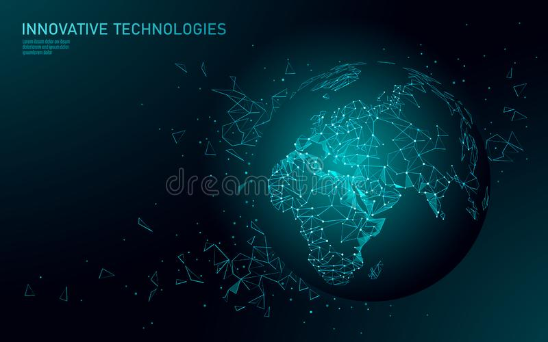 Χαμηλή πολυ σφαιρική επιχειρησιακή σύνδεση πλανήτη Γη Σφαιρική σε απευθείας σύνδεση ήπειρος της Ευρώπης Αφρική παγκόσμιων χαρτών  ελεύθερη απεικόνιση δικαιώματος