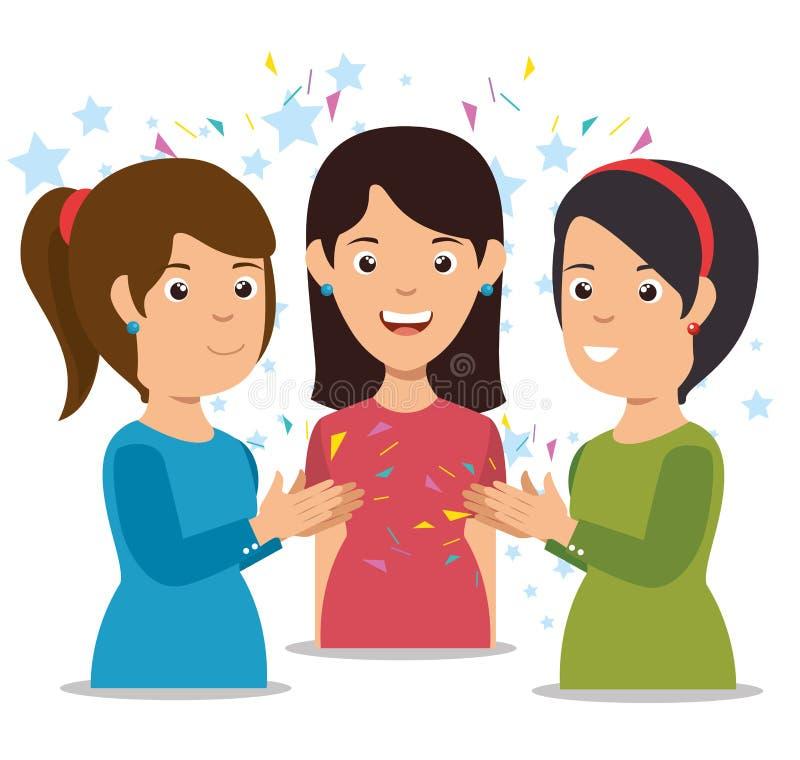 χαμογελώντας γυναίκες που χτυπούν τα εύθυμα κινούμενα σχέδια απεικόνιση αποθεμάτων