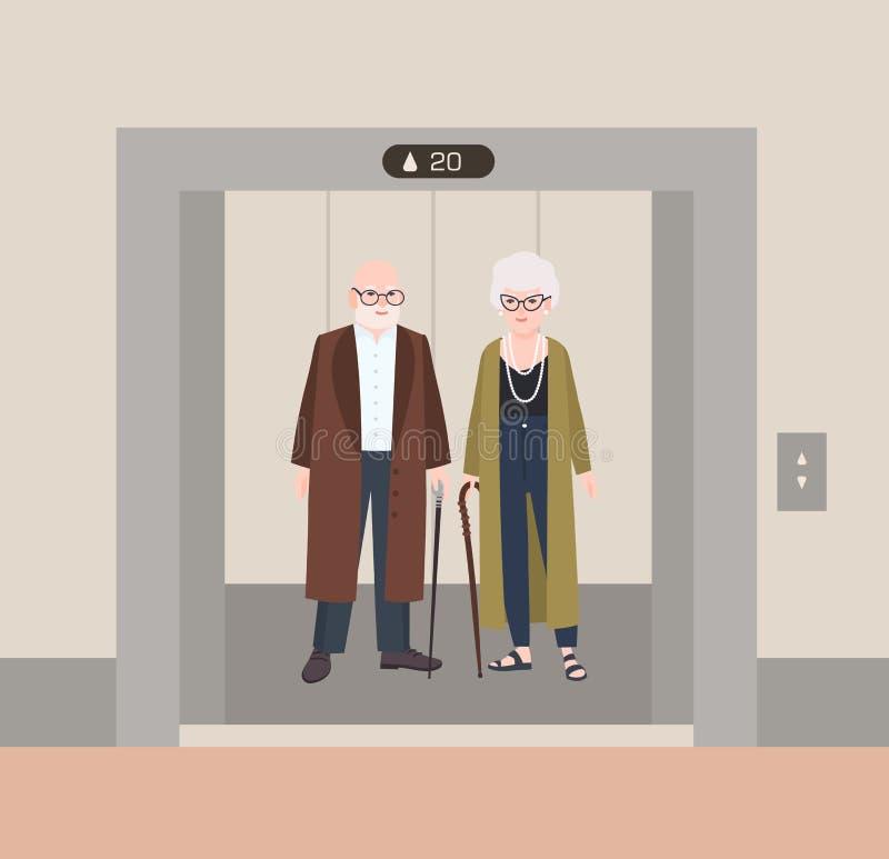 Χαμογελώντας ηληκιωμένος και γυναίκα με τους καλάμους που στέκονται στον ανελκυστήρα με τις ανοιχτές πόρτες Χαριτωμένο αστείο ηλι διανυσματική απεικόνιση