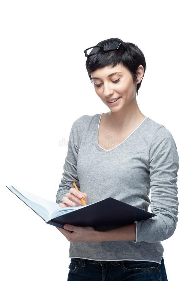 Χαμογελώντας σπουδαστής γυναικών, δάσκαλος ή επιχείρηση στοκ φωτογραφίες