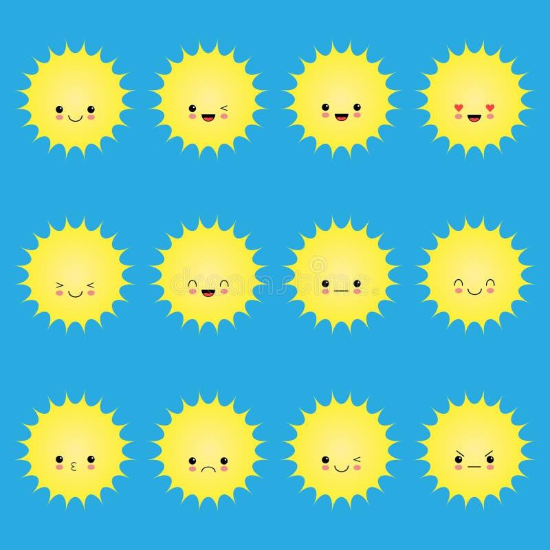 Χαμόγελο του ήλιου emoticons Διανυσματικό σύνολο ήλιων χαμόγελου κινούμενων σχεδίων Απεικόνιση ήλιων προσώπου κινούμενων σχεδίων  απεικόνιση αποθεμάτων