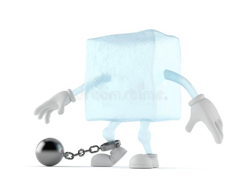 Χαρακτήρας κύβων πάγου με τη σφαίρα φυλακών ελεύθερη απεικόνιση δικαιώματος