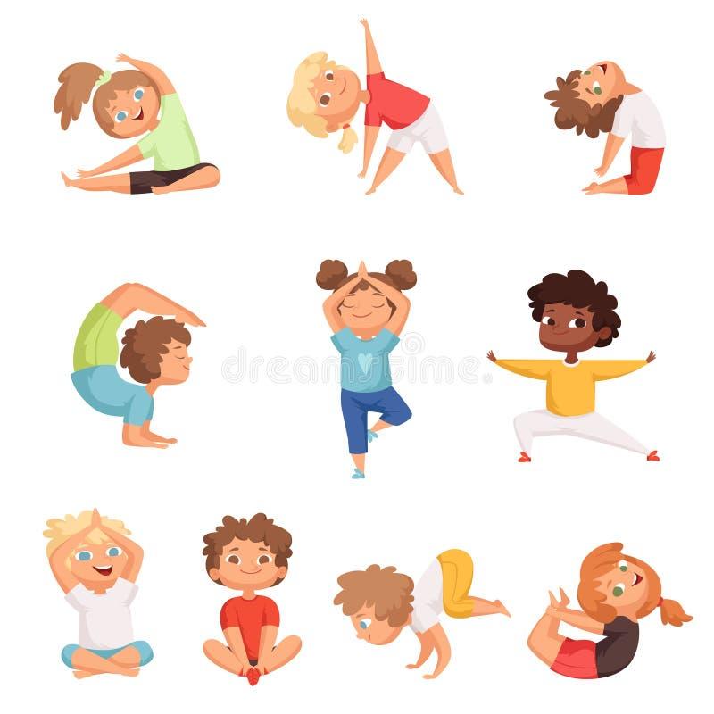 Χαρακτήρες παιδιών γιόγκας Αθλητικών παιδιών ικανότητας που θέτουν και κάνοντας ασκήσεις γιόγκας γυμναστικής τις διανυσματικές απ διανυσματική απεικόνιση