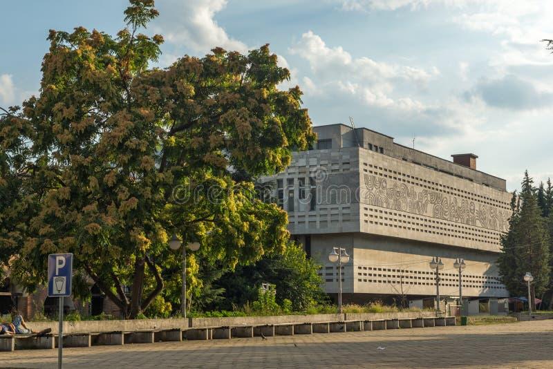 Χαρακτηριστικό κτήριο στο κέντρο της πόλης της Στάρα Ζαγόρα, Βουλγαρία στοκ εικόνες