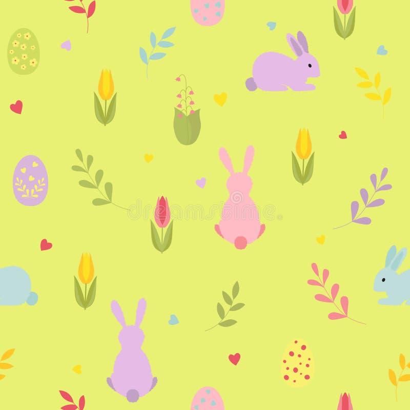 Χαριτωμένα αυγά Πάσχας κινούμενων σχεδίων, κουνέλια με τα λουλούδια κλαδάκι, καρδιές πρότυπο άνευ ραφής διανυσματική απεικόνιση