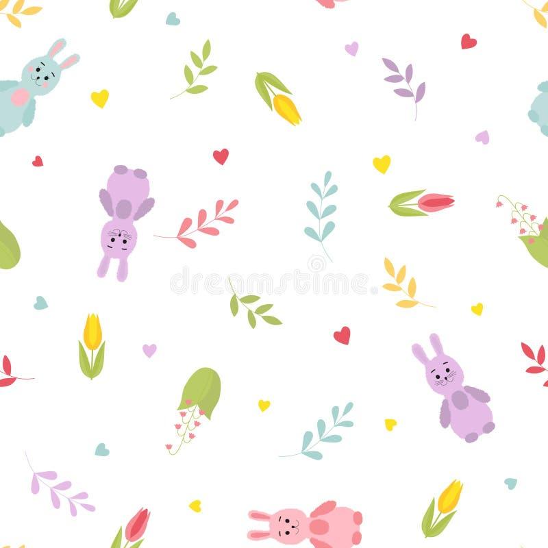Χαριτωμένα λαγουδάκια κινούμενων σχεδίων, κλαδίσκοι, καρδιές, λουλούδια άνοιξη ζωηρόχρωμο πρότυπο άνευ ρα& ελεύθερη απεικόνιση δικαιώματος