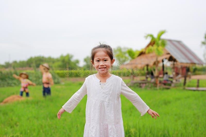 Χαριτωμένα όπλα λίγων ασιατικά τεντωμάτων κοριτσιών στους φρέσκους πράσινους τομείς ορυζώνα στοκ φωτογραφίες
