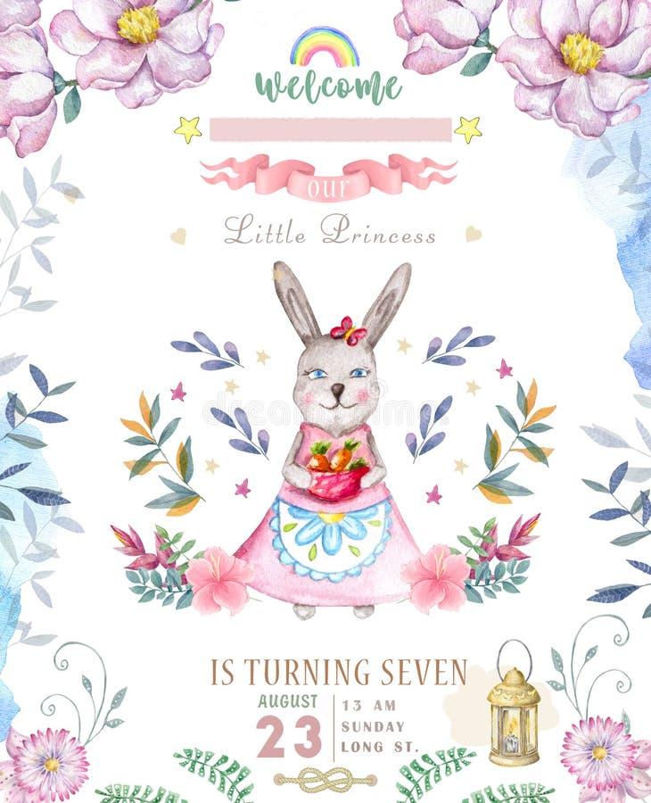Χαριτωμένη χρόνια πολλά κάρτα με το λαγουδάκι κινούμενων σχεδίων Ρόδινα λουλούδια boho τέχνης συνδετήρων κουνελιών Watercolor και διανυσματική απεικόνιση