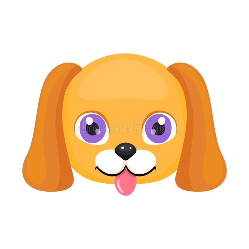 Χαριτωμένη πρόσωπο ή μάσκα σκυλιών που απομονώνεται στο άσπρο υπόβαθρο Κουτάβι κινούμενων σχεδίων με τα φωτεινή μάτια, τη γλώσσα, απεικόνιση αποθεμάτων