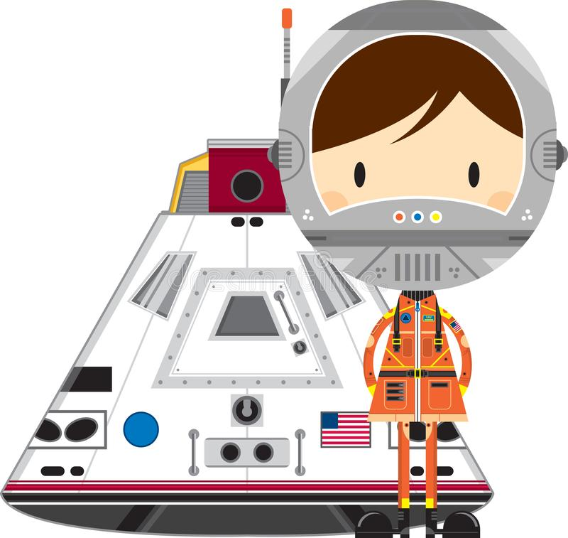 Χαριτωμένοι αστροναύτης και κάψα κινούμενων σχεδίων διανυσματική απεικόνιση