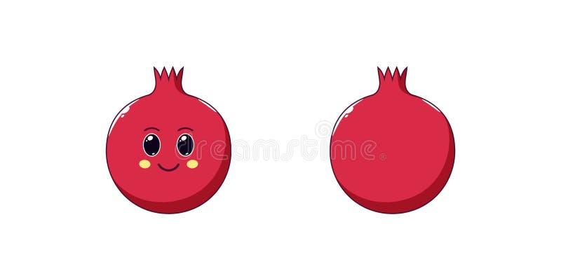 Χαριτωμένος γρανάτης Kawaii, ώριμα φρούτα κινούμενων σχεδίων διάνυσμα διανυσματική απεικόνιση