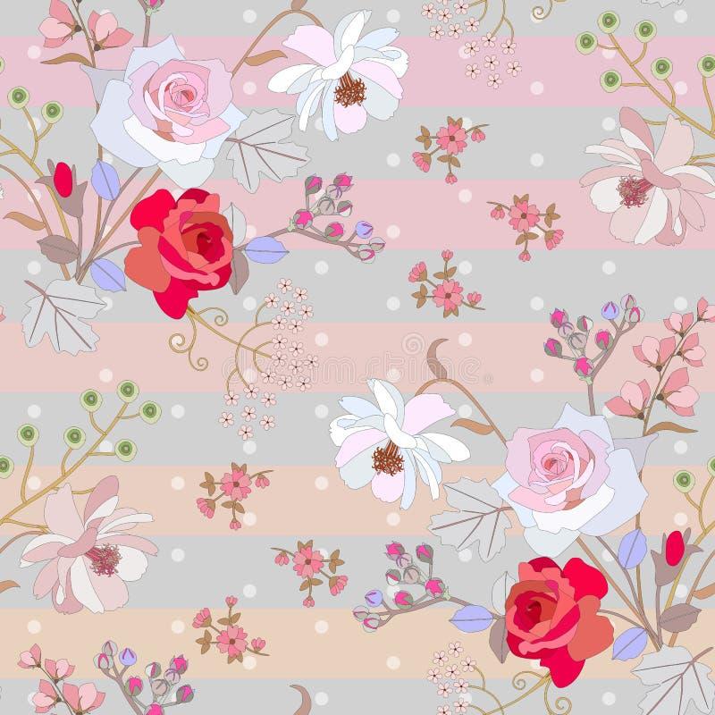 Χαριτωμένο άνευ ραφής floral σχέδιο στο ριγωτό υπόβαθρο σημείων Πόλκα Ευγενής τυπωμένη ύλη για το ύφασμα Διανυσματικό σχέδιο άνοι απεικόνιση αποθεμάτων