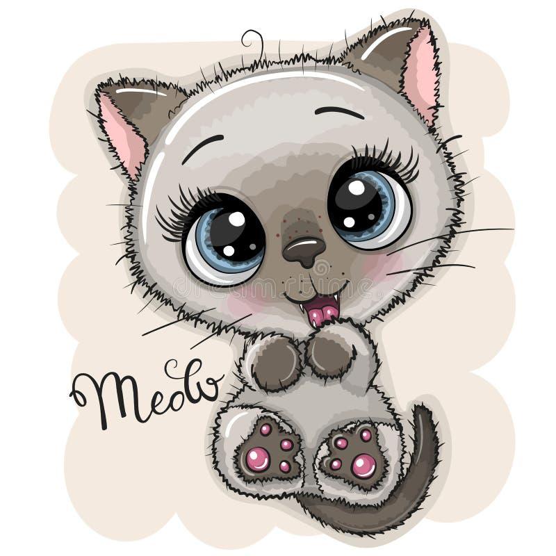 Χαριτωμένο γατάκι κινούμενων σχεδίων με τα μεγάλα μάτια ελεύθερη απεικόνιση δικαιώματος