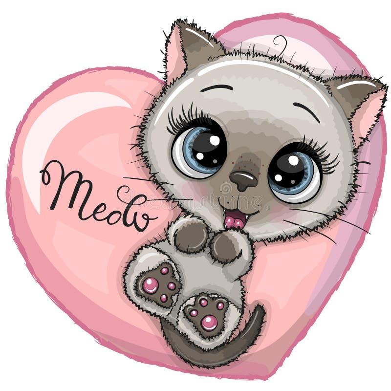 Χαριτωμένο γατάκι κινούμενων σχεδίων με τα μεγάλα μάτια διανυσματική απεικόνιση