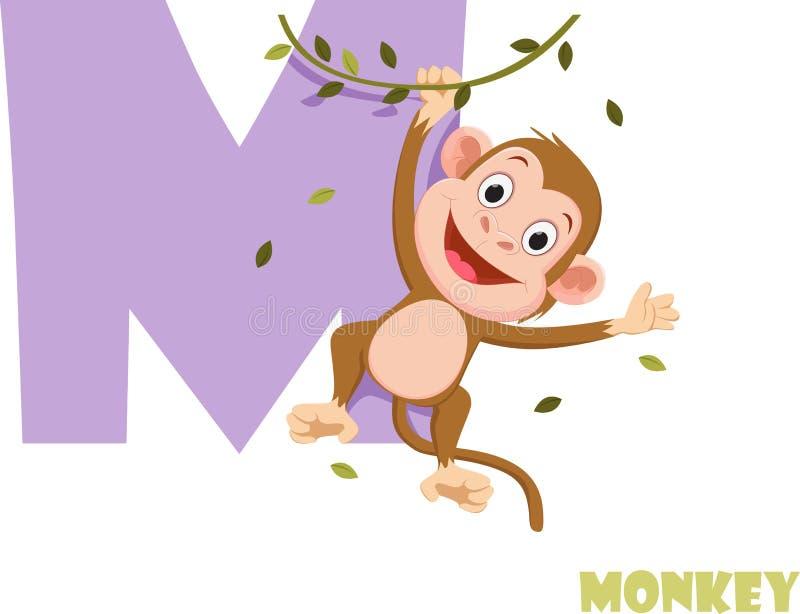 Χαριτωμένο ζωικό αλφάβητο ζωολογικών κήπων Γράμμα Μ για τον πίθηκο στοκ εικόνες με δικαίωμα ελεύθερης χρήσης