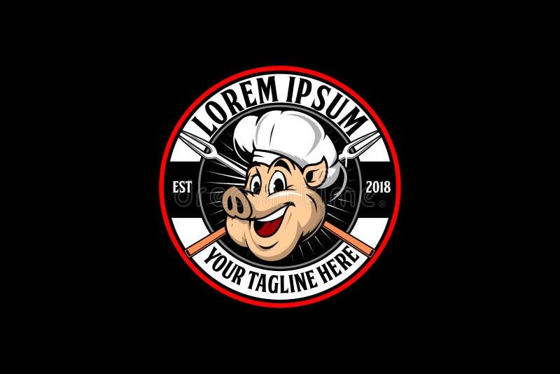 Χαριτωμένο και φιλικό επικεφαλής λογότυπο αρχιμαγείρων χοίρων για BBQ την επιχείρηση διανυσματική απεικόνιση