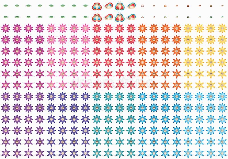 Χαριτωμένο σύνολο χαμόγελου λουλουδιών πεταλούδων φύλλων κινούμενων σχεδίων ελεύθερη απεικόνιση δικαιώματος