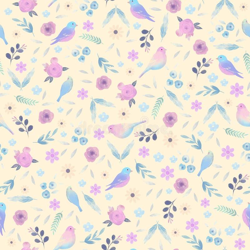 Χαριτωμένο σχέδιο στα μικρά λουλούδια Ανασκόπηση με τα λουλούδια και τα πουλιά απεικόνιση αποθεμάτων