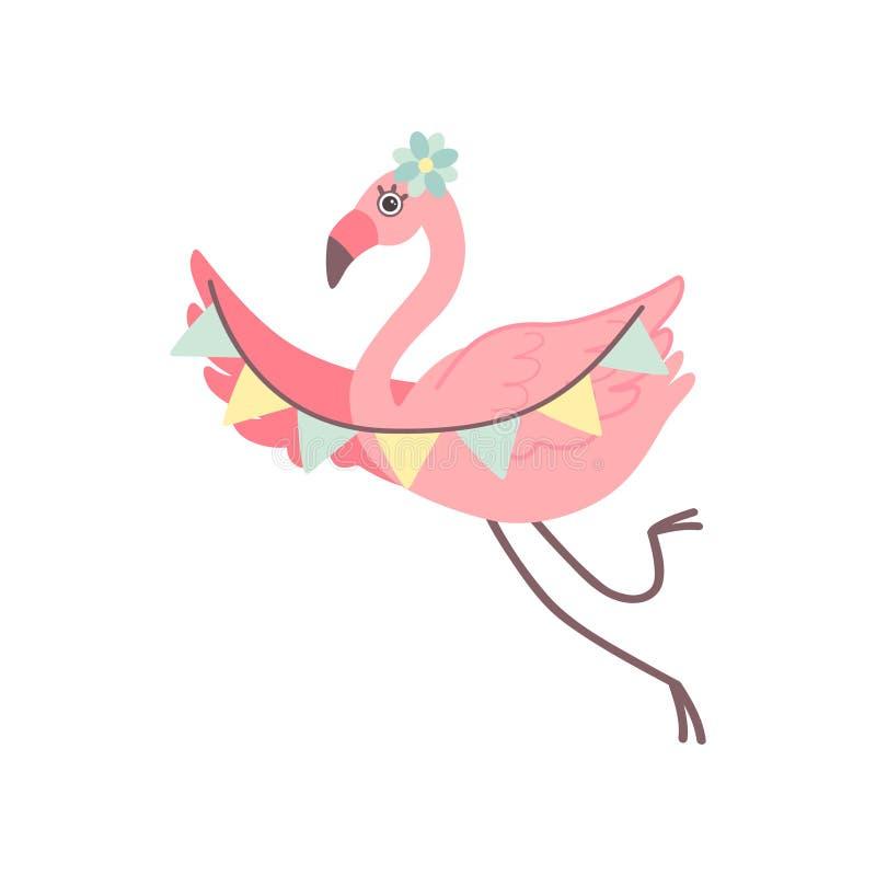 Χαριτωμένο φλαμίγκο με τις σημαίες κόμματος, όμορφη εξωτική διανυσματική απεικόνιση χαρακτήρα πουλιών απεικόνιση αποθεμάτων