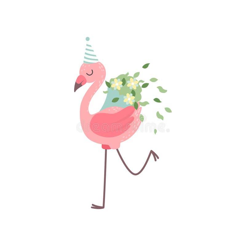 Χαριτωμένο φλαμίγκο που φορά το καπέλο κόμματος με την ανθοδέσμη των λουλουδιών, όμορφη εξωτική διανυσματική απεικόνιση χαρακτήρα ελεύθερη απεικόνιση δικαιώματος