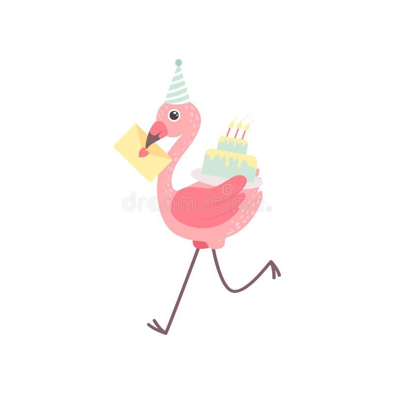 Χαριτωμένο φλαμίγκο που φορά το καπέλο κόμματος που τρέχει με το κέικ γενεθλίων και τη ευχετήρια κάρτα, όμορφο εξωτικό διάνυσμα χ διανυσματική απεικόνιση