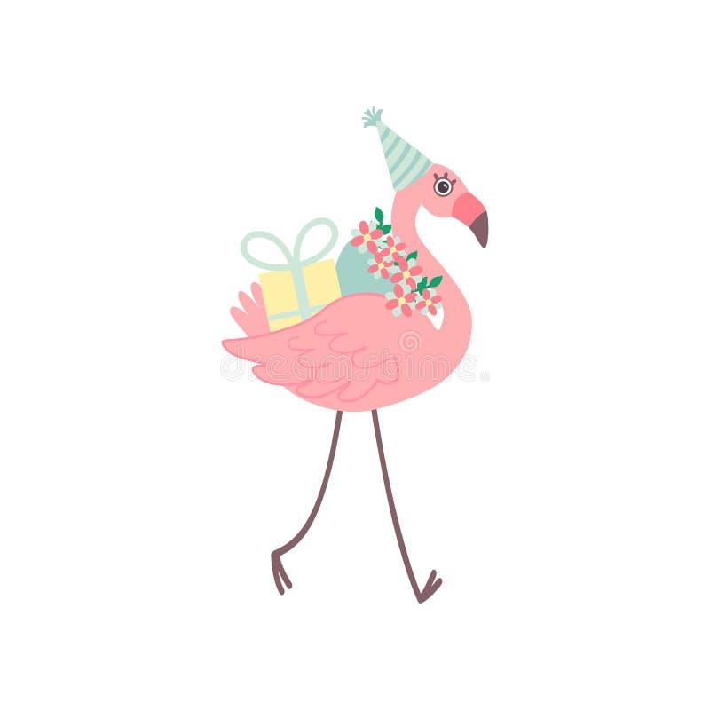 Χαριτωμένο φλαμίγκο που φορά το καπέλο κόμματος που περπατά με την ανθοδέσμη των λουλουδιών και του πεδίου δώρων, όμορφο εξωτικό  ελεύθερη απεικόνιση δικαιώματος