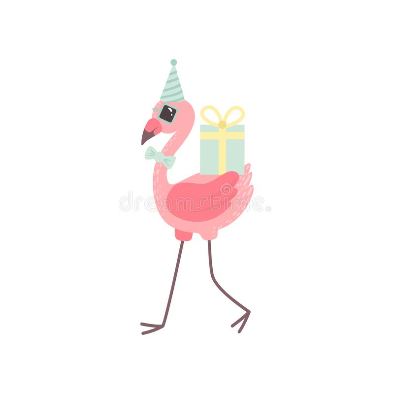 Χαριτωμένο φλαμίγκο που φορούν το καπέλο κόμματος και δεσμός τόξων που περπατά με τα πεδία δώρων, όμορφη εξωτική διανυσματική απε διανυσματική απεικόνιση