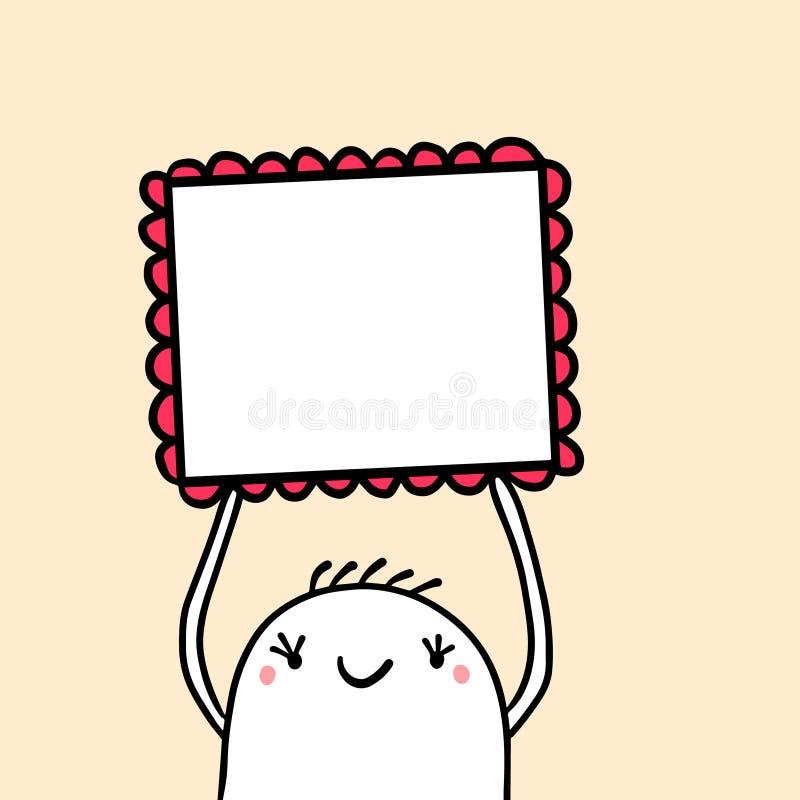 Χαριτωμένο marshmallow που κρατά το τετραγωνικό πλαίσιο με τη διακοσμητική συρμένη χέρι απεικόνιση στοιχείων διανυσματική απεικόνιση
