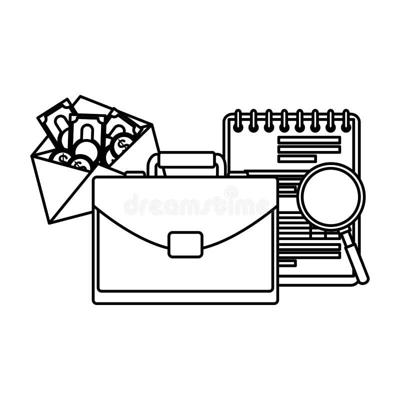 Χαρτοφυλάκιο με το σημειωματάριο και τα χρήματα απεικόνιση αποθεμάτων