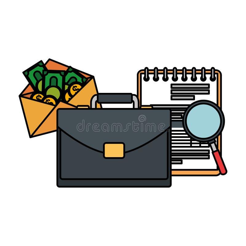 Χαρτοφυλάκιο με το σημειωματάριο και τα χρήματα ελεύθερη απεικόνιση δικαιώματος