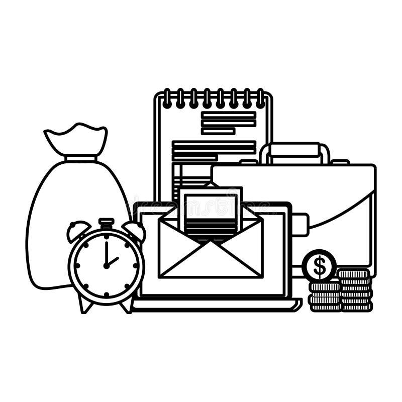 Χαρτοφυλάκιο με το σημειωματάριο και το lap-top διανυσματική απεικόνιση