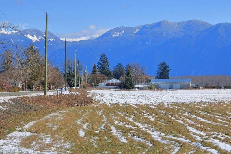 Χειμερινά βουνά και αγρόκτημα στην κοιλάδα Fraser στοκ φωτογραφία