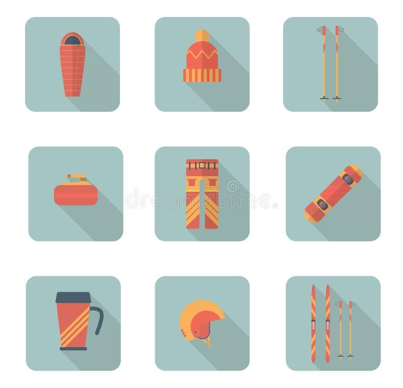 Χειμερινός αθλητισμός και συλλογή εικονιδίων πεζοπορίας επίπεδη διάνυσμα απεικόνιση αποθεμάτων