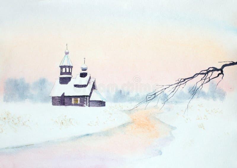 Χειμερινό τοπίο με μια ξύλινη εκκλησία απεικόνιση αποθεμάτων