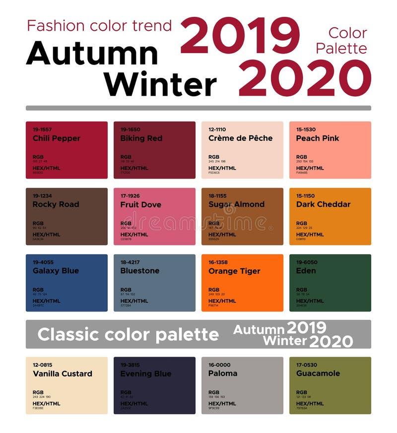 Χειμώνας 2019-2020 φθινοπώρου τάσης χρώματος μόδας και κλασική παλέτα χρώματος διανυσματική απεικόνιση