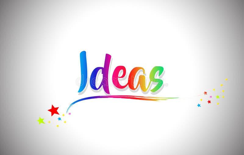 Χειρόγραφο κείμενο του Word ιδεών με τα χρώματα ουράνιων τόξων και δονούμενο Swoosh ελεύθερη απεικόνιση δικαιώματος