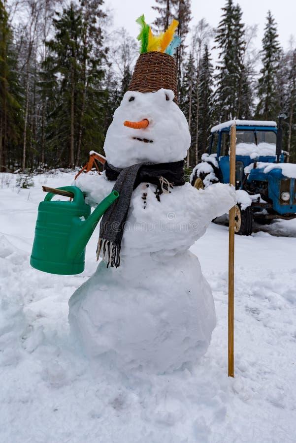 Χιονάνθρωπος με τη μύτη και το μαντίλι καρότων στοκ εικόνες
