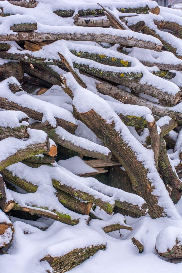 Χιόνι-καταγραμμένα καταστήματα καυσόξυλου για την περαιτέρω επεξεργασία στοκ φωτογραφία με δικαίωμα ελεύθερης χρήσης