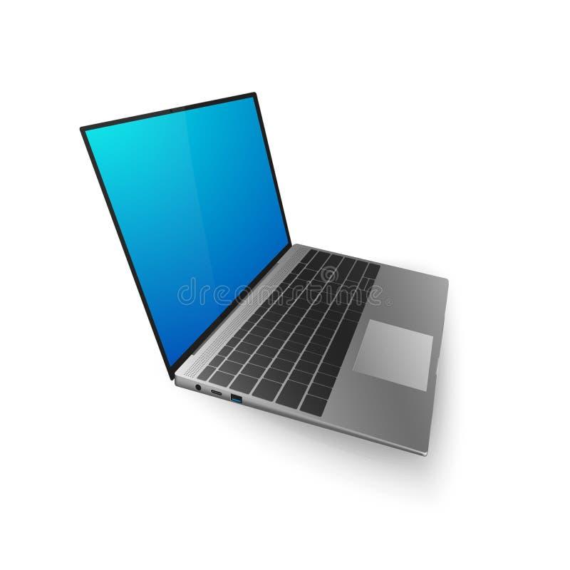 Χλεύη lap-top επάνω τρισδιάστατο lap-top με την οθόνη bkue για σας σχέδιο ή έμβλημα Διανυσματική απεικόνιση που απομονώνεται στην διανυσματική απεικόνιση