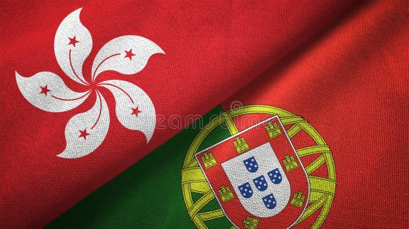 Χονγκ Κονγκ και Πορτογαλία δύο υφαντικό ύφασμα σημαιών, σύσταση υφάσματος απεικόνιση αποθεμάτων