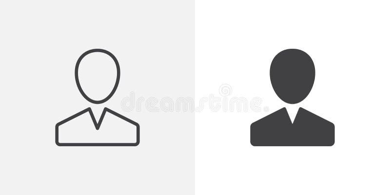 Χρήστης, εικονίδιο προσώπων διανυσματική απεικόνιση