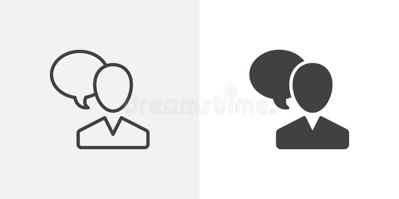 Χρήστης και εικονίδιο λεκτικών φυσαλίδων διανυσματική απεικόνιση
