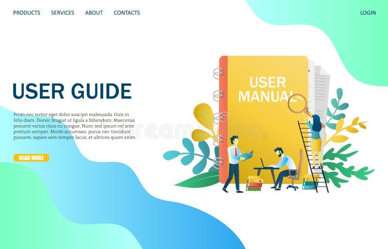 Χρηστών οδηγών διανυσματικό πρότυπο σχεδίου σελίδων ιστοχώρου προσγειωμένος απεικόνιση αποθεμάτων