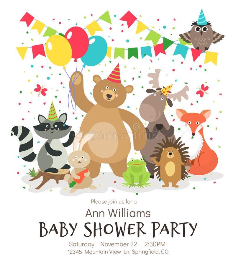 Χρόνια πολλά αφίσα ζώων Δασόβια δασική ζωική εκλεκτής ποιότητας διανυσματική κάρτα πρόσκλησης παιδιών ντους μωρών απεικόνιση αποθεμάτων