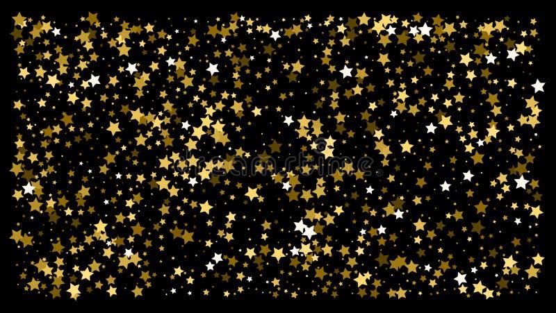 Χρυσά αστέρια Εορτασμός κομφετί απεικόνιση αποθεμάτων